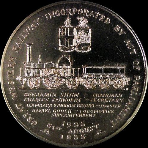 英国 Great Western Railway設立後150周年記念銅メダル 希少!!!