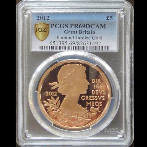 ヤングヤング 2012年 エリザベス2世 即位60周年記念 5ポンドプルーフ金貨 鑑定済み