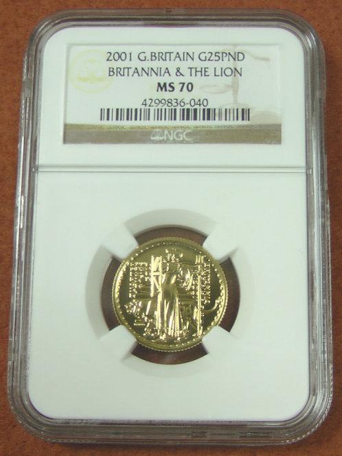 2001年 英国ブリタニアとライオン£25 1/4oz 金貨 最高鑑定