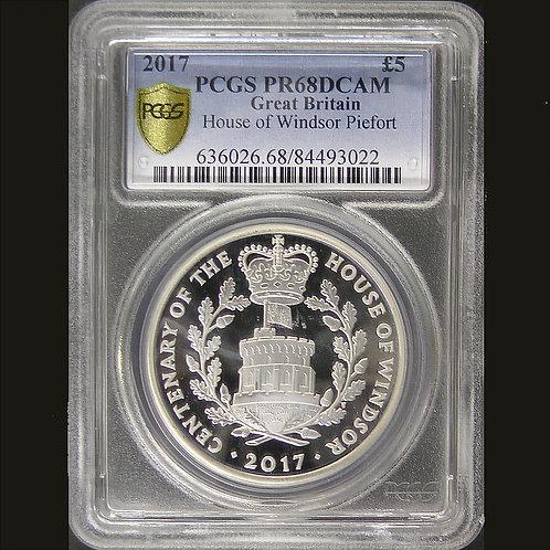 2017年イギリス 5ポンド 銀貨 ピエフ ォー ウィンザー朝100周年 PCGS PR68DCAM 準最高鑑定 その1