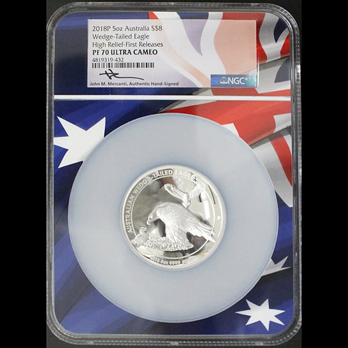 (ko)2018-P オーストラリア $8 5オンス 銀貨 最高鑑定しかもFR MERCANTIサイン入り