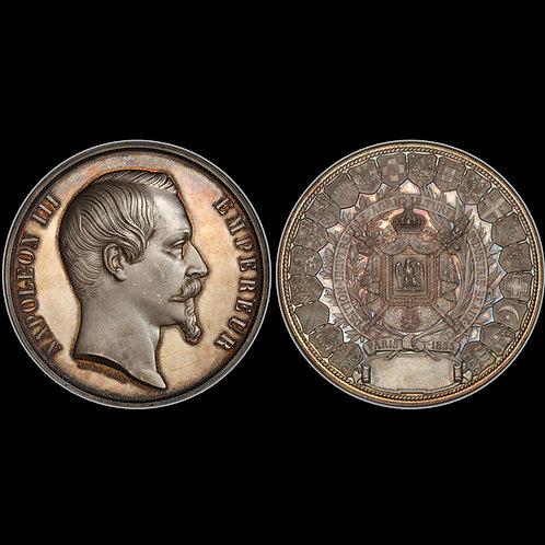 1855年 パリ万博記念銀大型メダル  PCGS SP63 希少!!!