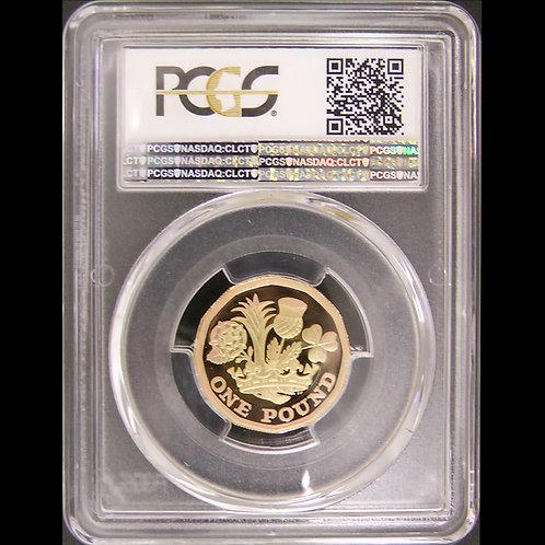 2017 イギリス 王冠と植物 金貨 プルーフ 1ポンド 鑑定済み PCGS PR69DCAM