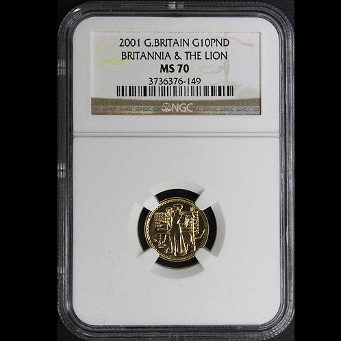 2001年ブリタニアとライオン 1/10oz 金貨 NGC MS-70 No2