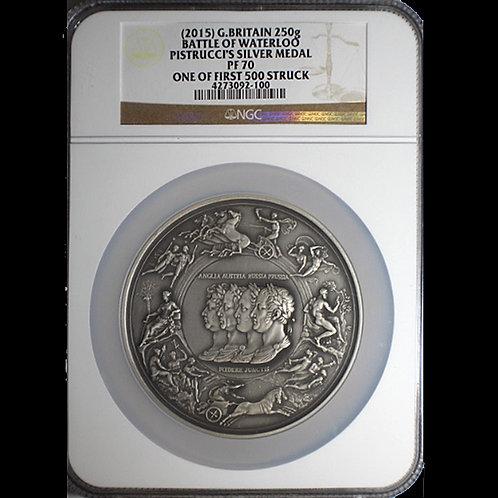 稀少!2015 Battle of Waterloo Pistrucci's Silver medal NGC PF 70