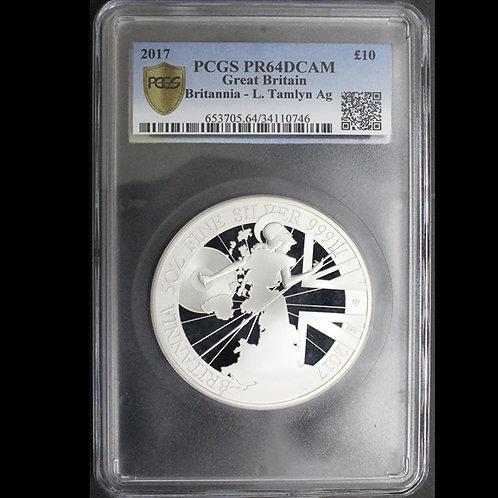 2017年ブリタニア5オンス銀貨PCGSPR64DCAM