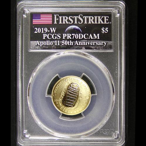 2019年ーW アポロ11号月面着陸50周年記念$5金貨 PCGS PR70DCAM  FS