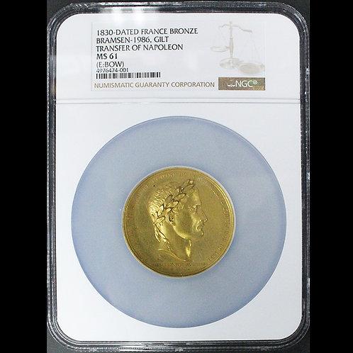 1830年のナポレオン皇帝の棺返還記念オリジナル金鍍金銅メダル 唯一最高鑑定 希少です!!!