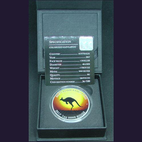 100個の限定発行 2017年 オーストラリア サンセットを背景に跳躍するカンガルー銀貨 36/100