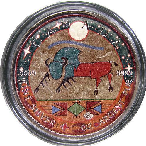 2017年 カナダメープル 「先住民の描いた赤い雄牛」銀貨