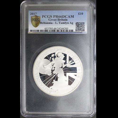 2017年ブリタニア5オンス銀貨PCGSPR66DCAM