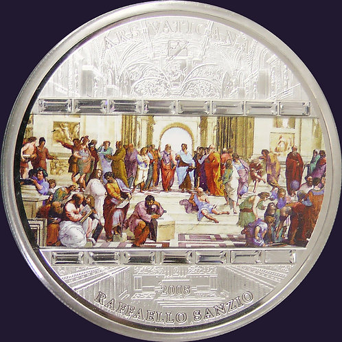 2008年 ラファエロ作 アテナイの学堂 3oz 銀貨