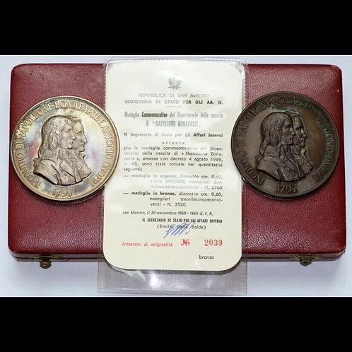 1969年発行 シルバーとブロンズのナポレオン生誕200周年記念ジョンソンメダルセット