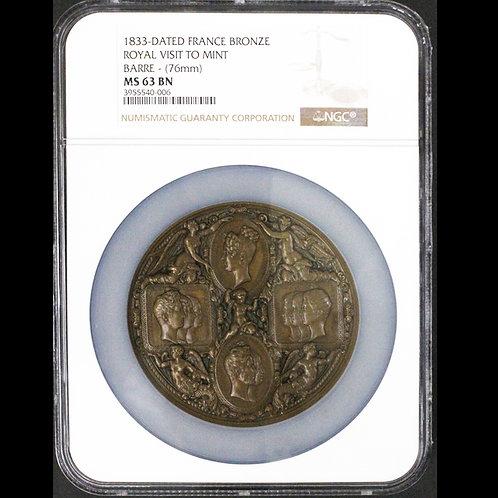 1833年 ルイ・フィリップ1世(オルレアン朝フランス国王)ロイヤルファミリーでパリ造幣局訪問記念大型銅メダル