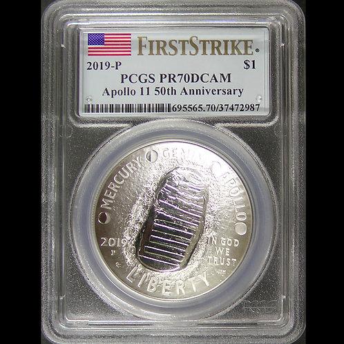 2019年ーP アポロ11号月面着陸50周年記念$1銀貨 PCGS PR70DCAM FS COA/BOX付き