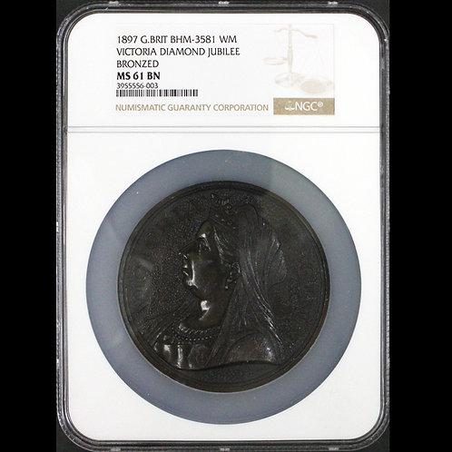 1897年 ヴィクトリア ダイアモンドジュビリー 神の祝福 78 mm 大型メダル EIMER 1814