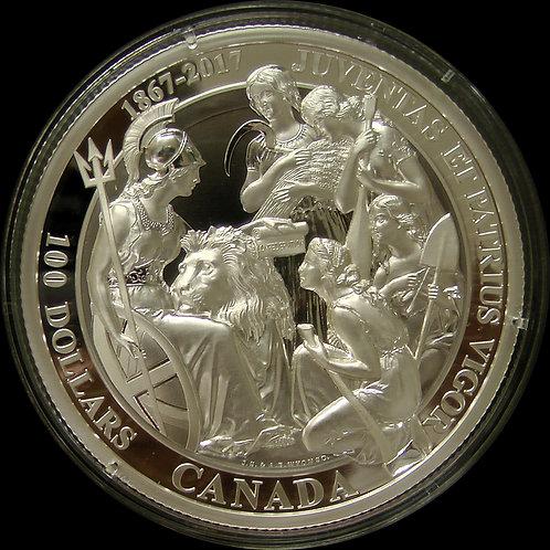 2017年 カナダ建国 ウナとライオン $100  10 Oz 記念銀貨