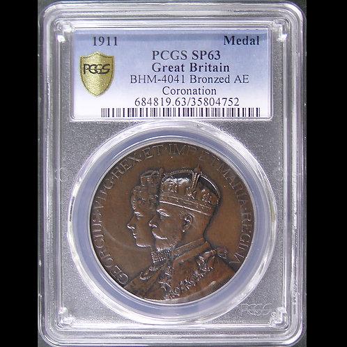 1911年ジョージ5世とメアリー妃 戴冠記念銅メダル 唯一最高鑑定!!!