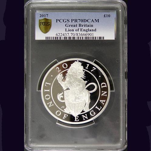 2017年 英国  百獣の王 ライオン 5Oz 銀貨