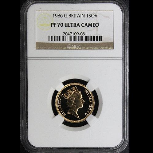 1986 ヤングエリザベス 1ソブリン 金貨 NGC PF70UC