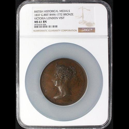 1837年 ヴィクトリア シティ・オブ・ロンドン訪問記念銅メダル準鑑定!!