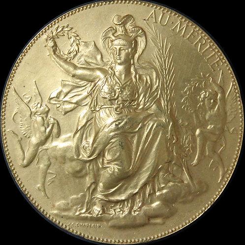 月桂冠を手に持ち座した女神ミネルフ(アールヌーボー)大型銅メダル