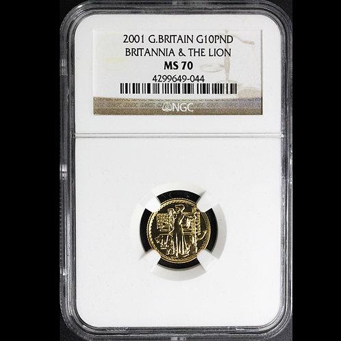 2001年ブリタニアとライオン 1/10oz 金貨 NGC MS-70 No1