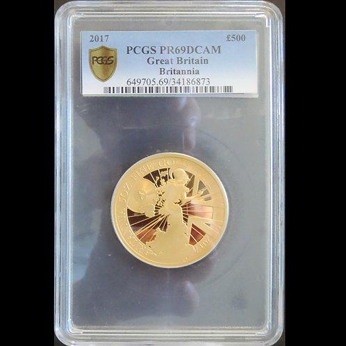 2017年 ブリタニア 金貨発行から30周年 5オンス記念金貨 PCGSPR69DC その1