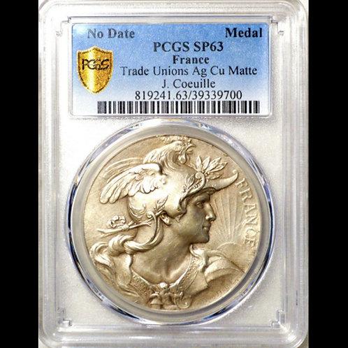 フランス労働組合記念塗銀銅メダル matte仕様で極めて希少