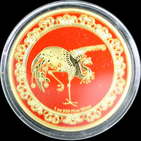 神話上の生き物 赤い鳳凰 1オンス $2金鍍金銀貨 ニウエ2020