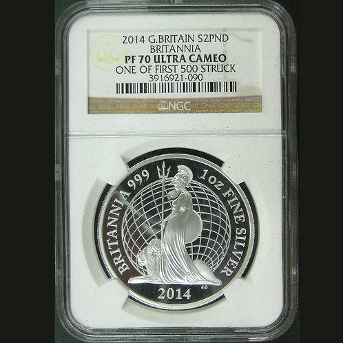 2014 ウナとライオン ブリタニア 銀貨  NGC PF70UC 最高鑑定
