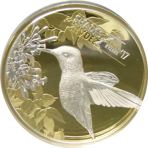 2017年 クック諸島 自然の中のハチドリ銀貨