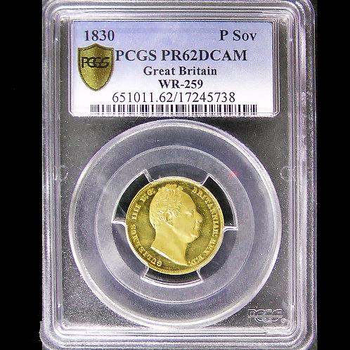 (ko)現時点で唯一と考えるパターン金貨!!! 1830年 英国 ウィリアム4世 パターン ・プルーフ ソブリン金貨 PCGS PR62 DCAM