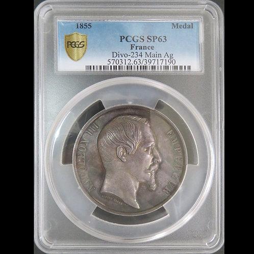 1855年 パリ万博記念銀大型メダル  PCGS SP63 希少!!!no2