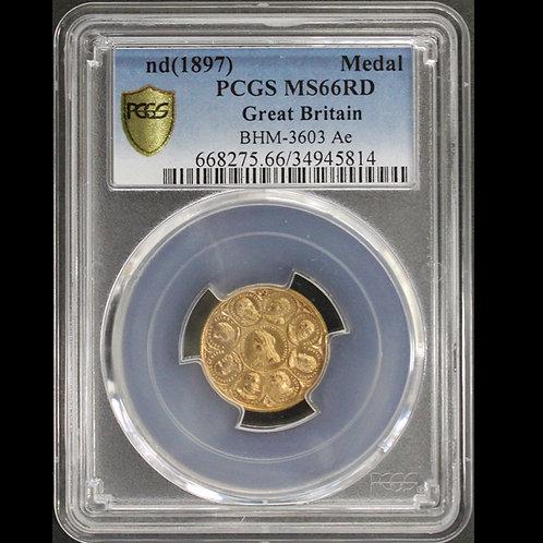 英国 Victoria ND1897ヴィクトリア/プリンス・プリンセス・ウェールズメダル 鑑定済み No3