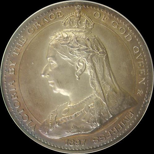 1897年 ヴィクトリア 英国科学芸術学部門記念銀(AR)メダル  PCGS SP64 準最高鑑定!!!