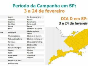 Vacina fracionada da febre amarela será aplicada em 52 municípios de SP.
