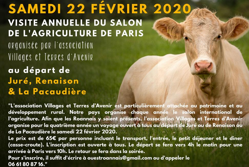 Visitez le salon de l'agriculture 2020 au départ de Juré, Renaison et La Pacaudière