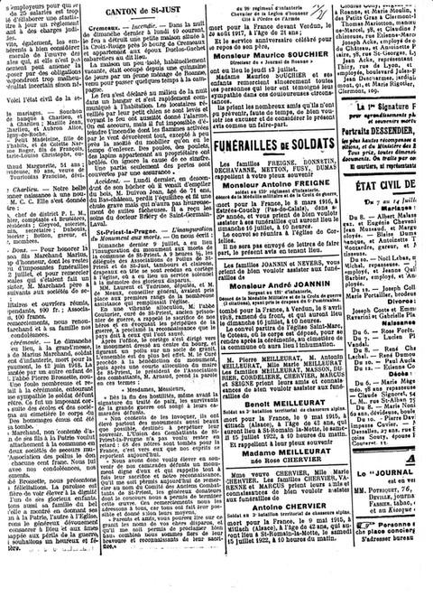 1922 : inauguration du monument aux morts de Saint-Priest-la-Prugne, des anciens articles de presse