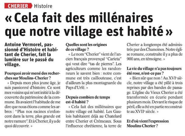 Histoire de Moulins-Cherier : retrouvez l'interview d'Antoine Vermorel
