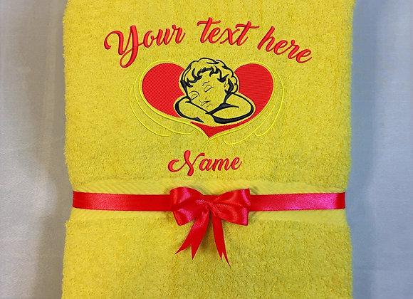 Bath towel with angel