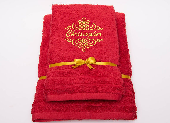 Embroidered towel with name in celtic knot frame