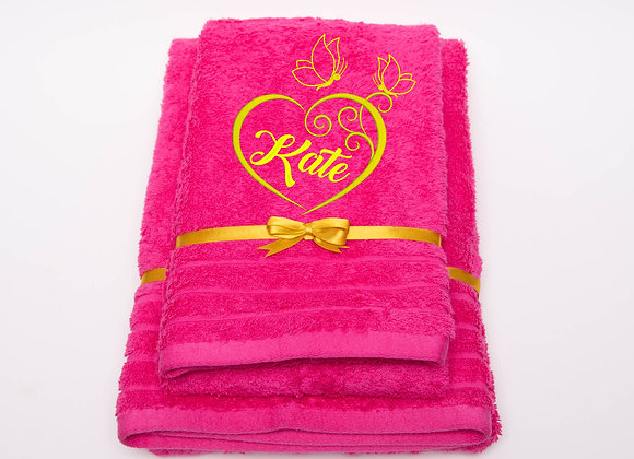 Embroidered towel with name and heart