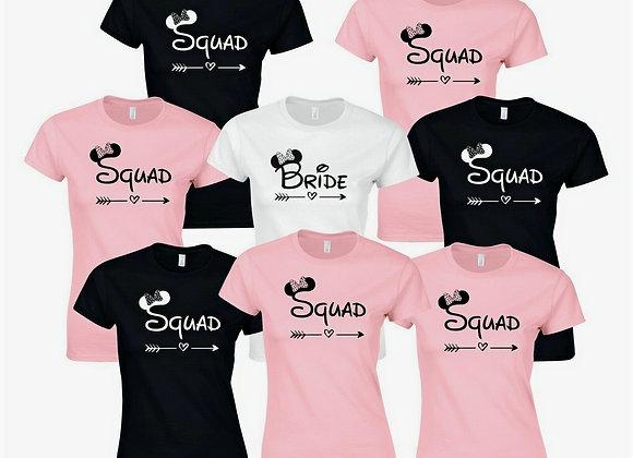 Hen Party T-Shirts Selection - Bride Squad