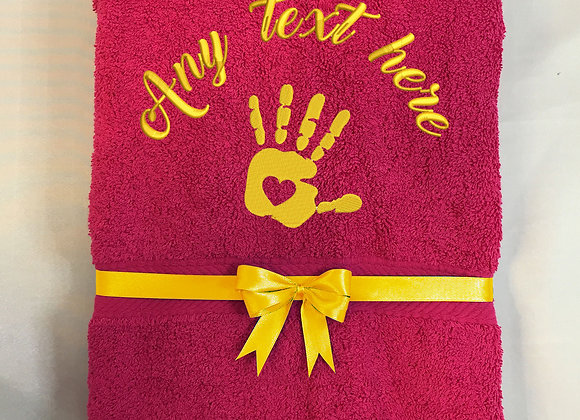 Bath towel with palm