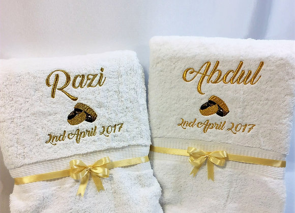 Wedding anniversary towel set of two