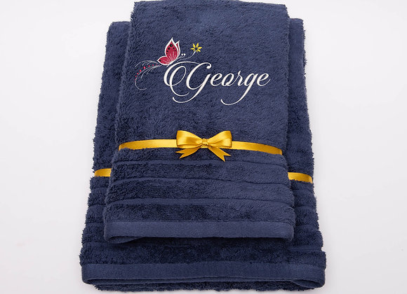 Embroidered towel with name and butterfly