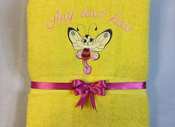 Bath towel with butterfly