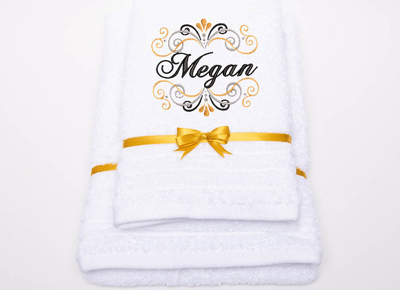 Embroidered towel with name in multicoloured frame