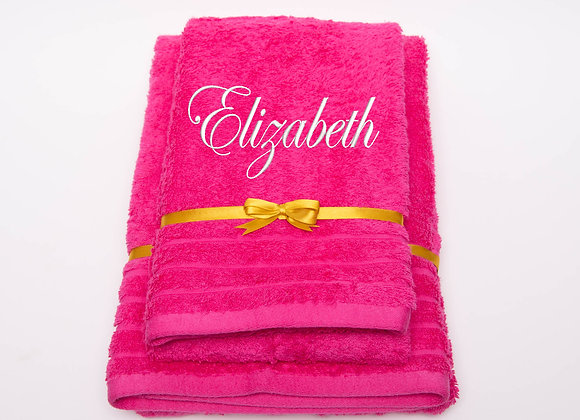 Embroidered towel with name in curly font